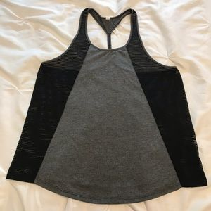 ALO Yoga Black and Gray Mesh Muscle Tank